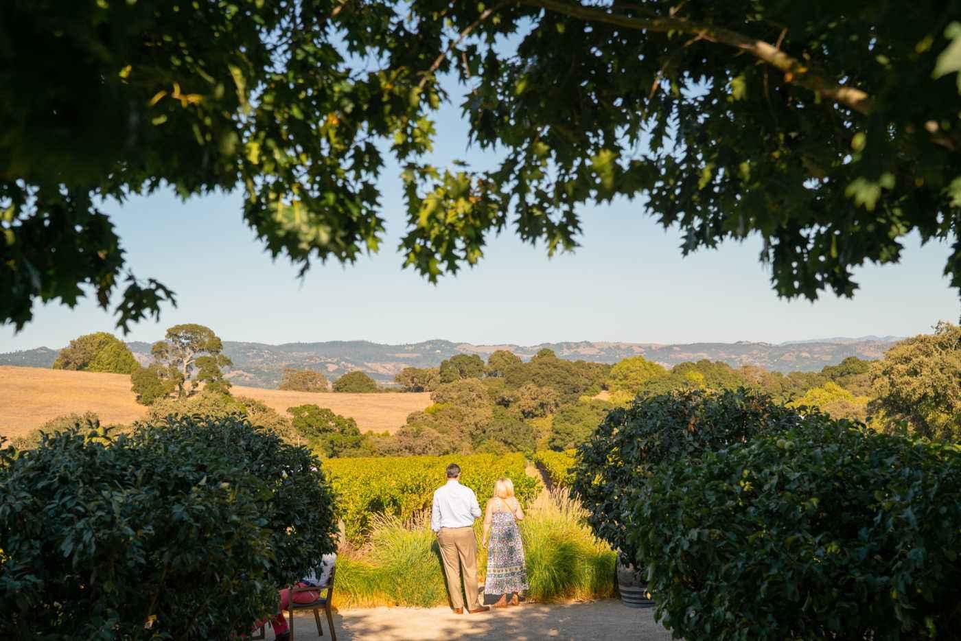couple walking to vineyard